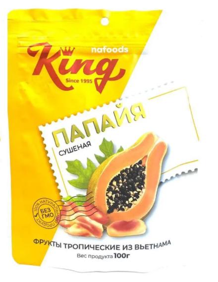 KING Папайя сушеная 100 гр пакет