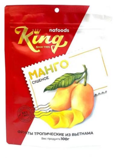 KING Манго сушеное 100 гр пакет