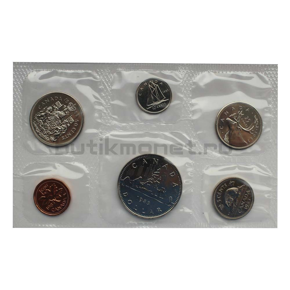 Официальный годовой набор монет 1983 Канада  (6 монет в запайке)