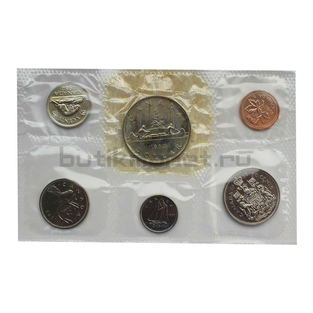 Официальный годовой набор монет 1982 Канада  (6 монет в запайке)