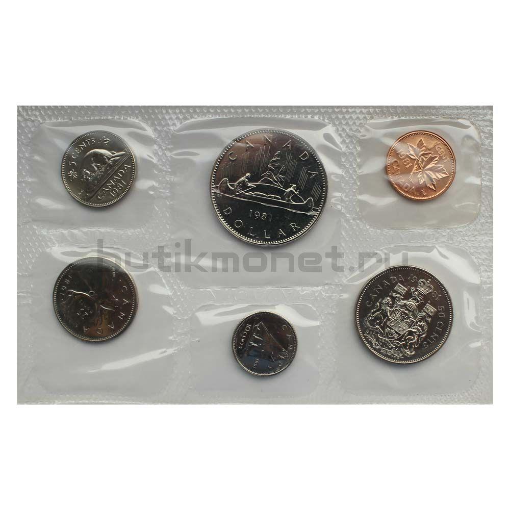 Официальный годовой набор монет 1981 Канада  (6 монет в запайке)