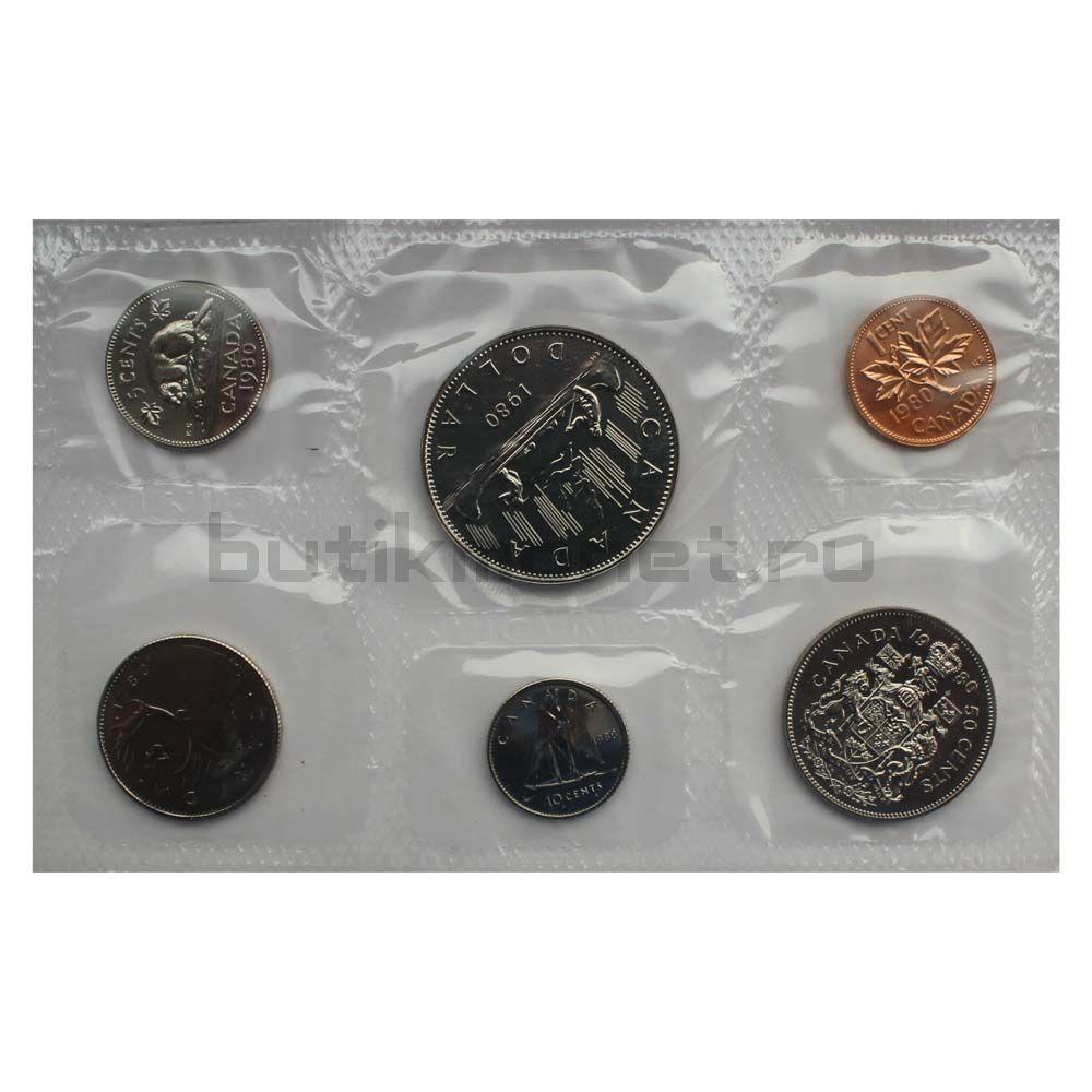 Официальный годовой набор монет 1980 Канада  (6 монет в запайке)