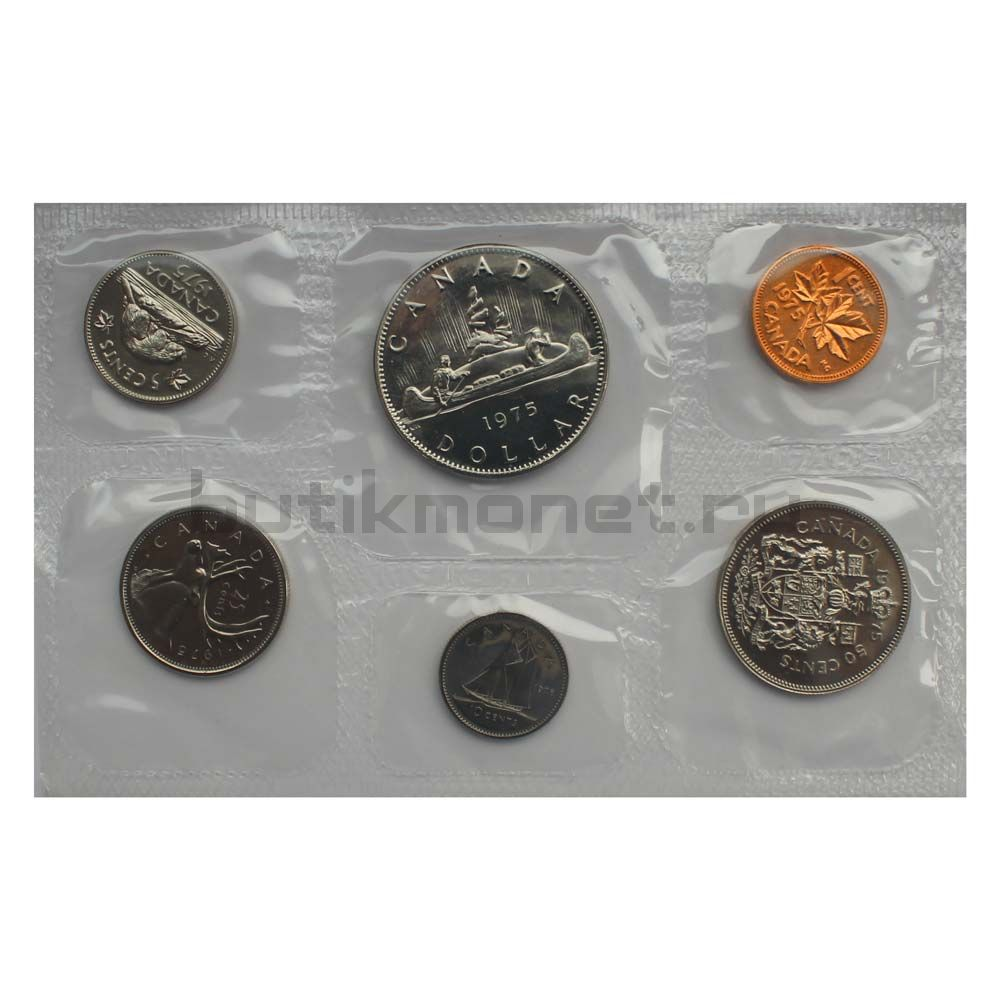 Официальный годовой набор монет 1975 Канада  (6 монет в запайке)