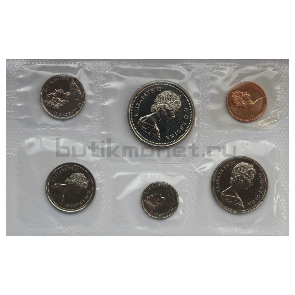 Официальный годовой набор монет 1973 Канада  (6 монет в запайке)