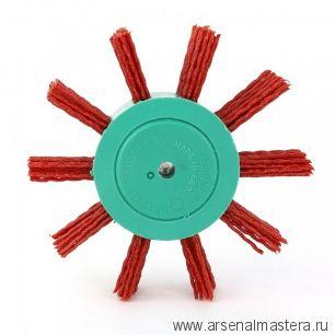 401.912-0001 Щетка дисковая Д 100 х 23 хвостовик 6 мм ворс красный полимер-абразив P80 OSBORN