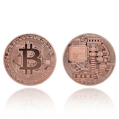 Сувенирная монета Биткойн, d.4см, цвет медный