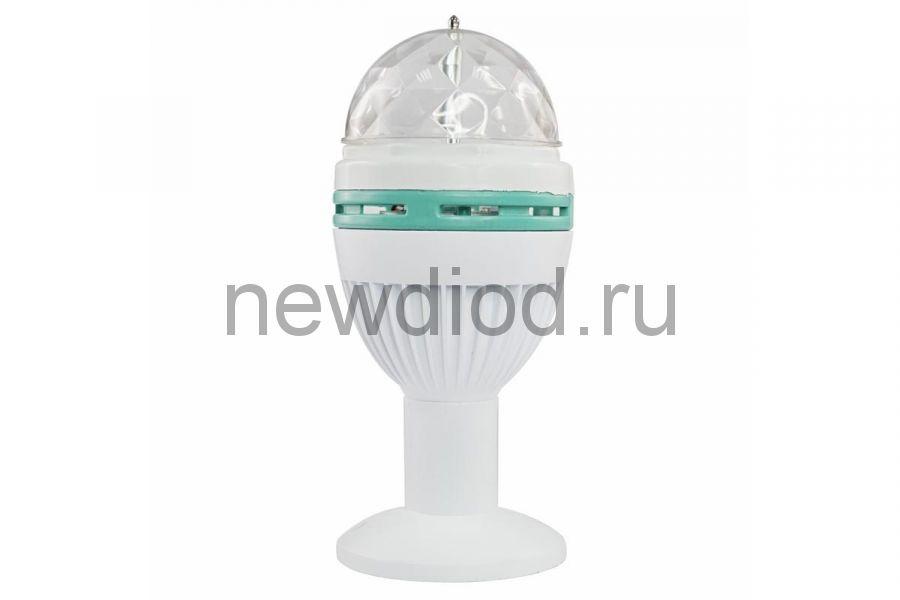Диско-лампа светодиодная e27, подставка с цоколем e27 в комплекте, 230В