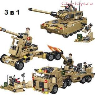 Конструктор ZHBO SWAT POLICE Танк-Пушка-Боевой автомобиль 3 в 1 ZB5520 609 дет