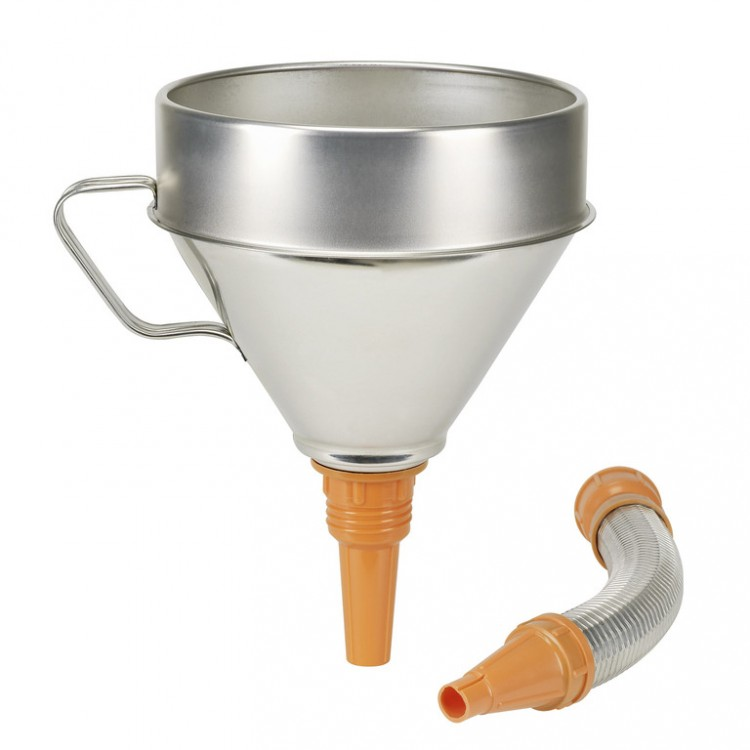 Воронка из белой жести с гибкой трубкой для химически активных сред ? 200 мм, емкость 3,2 л, Metall-Flexauslauf 02344950