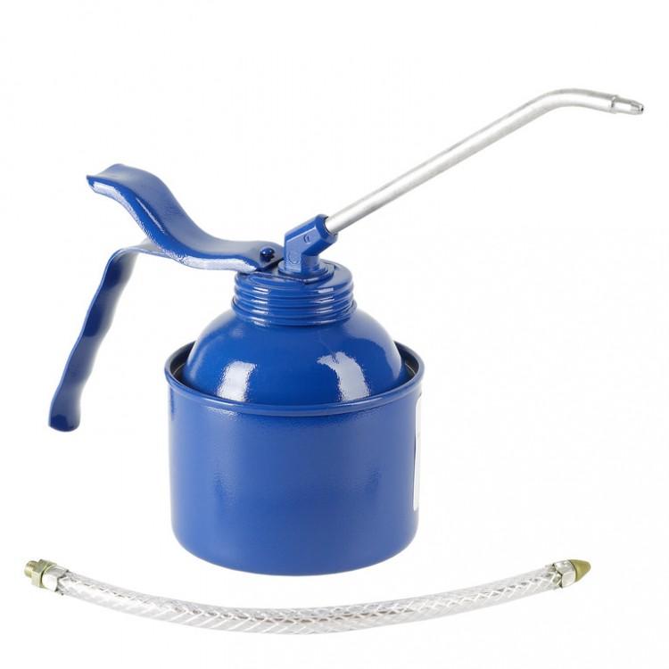Масленка, 350 мл, сталь, синяя, латунный насос. С трубкой и шлангом (6 шт) 05224