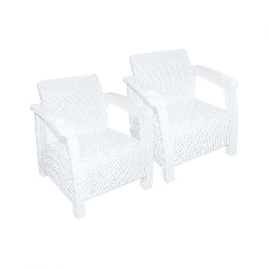 """Набор из двух кресел """"Ротанг"""" Альтернатива М6256 Белый, без подушек"""