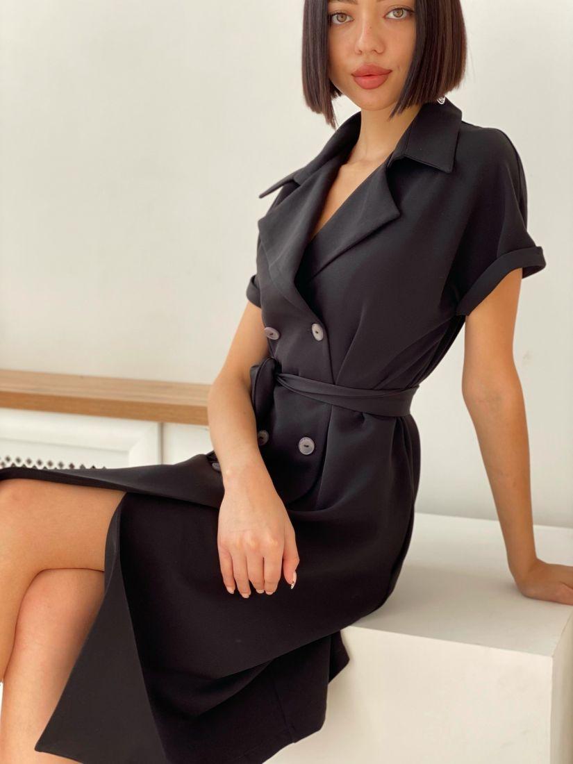 3825 Платье двубортное со спущенным плечом чёрное