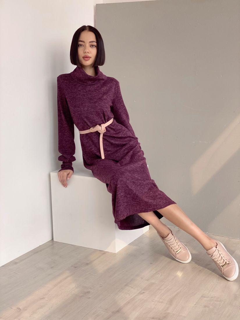 """3503 Платье с объёмными рукавами в цвете """"вино"""""""