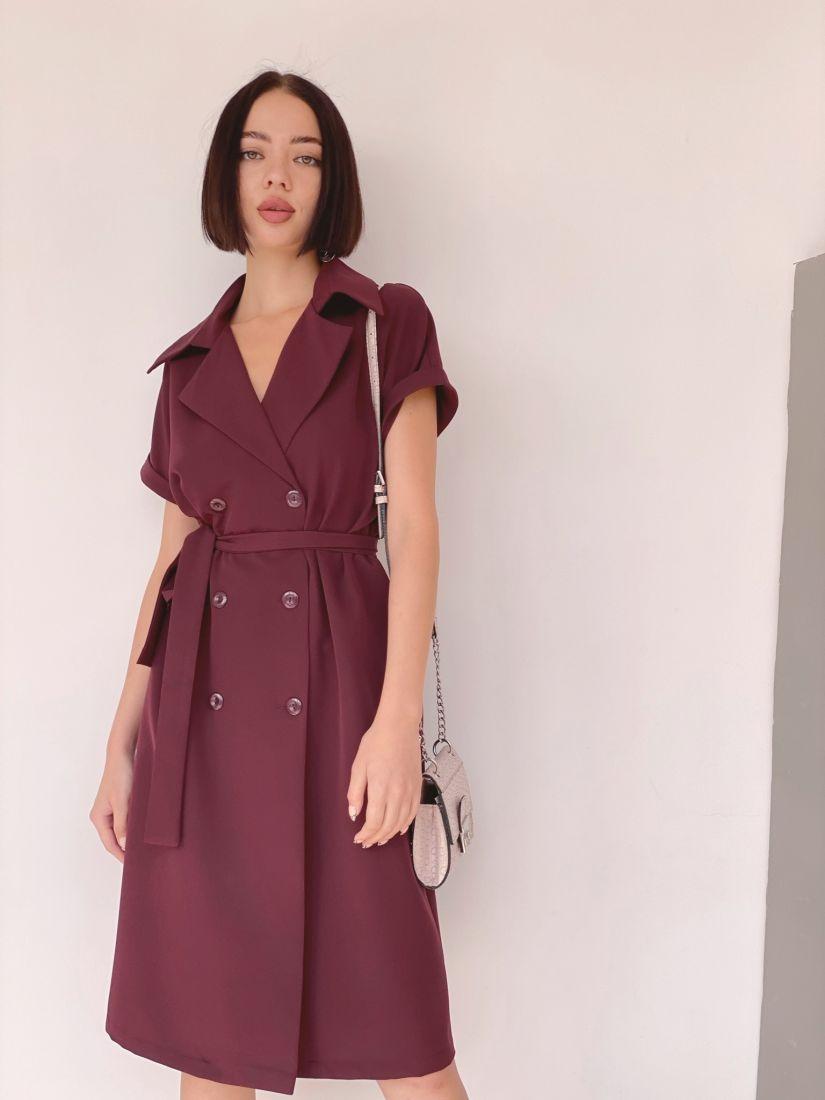 3835 Платье двубортное со спущенным плечом бордовое
