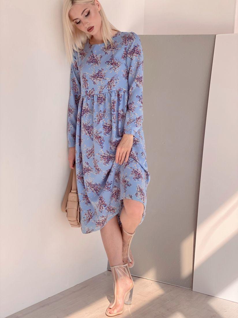 4466 Платье голубое с веточками