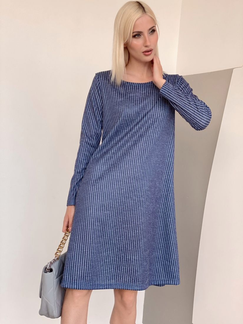 4468 Платье трикотажное в синюю полоску