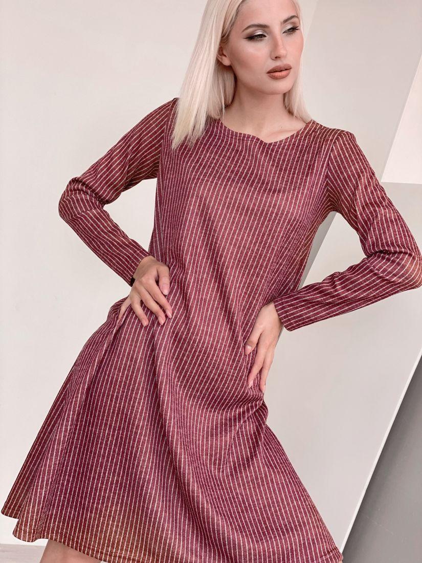4469 Платье трикотажное в красную полоску
