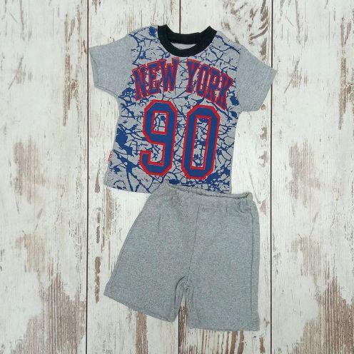 Костюм NY 90 серый: футболка, шорты