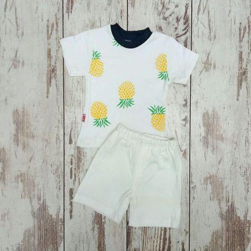 Костюм ананас белый: футболка, шорты