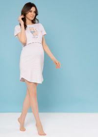 """Ночная сорочка """"Мелана"""" для беременных и кормящих; бежевые полоски"""