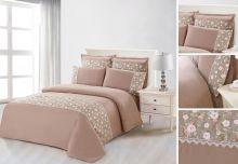 Комплект постельного белья  Сатин  с цветным кружевом  евро  Арт.SZV-013-3