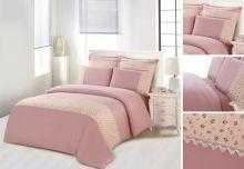 Комплект постельного белья  Сатин  с цветным кружевом  семейный  Арт.SZV-007-4