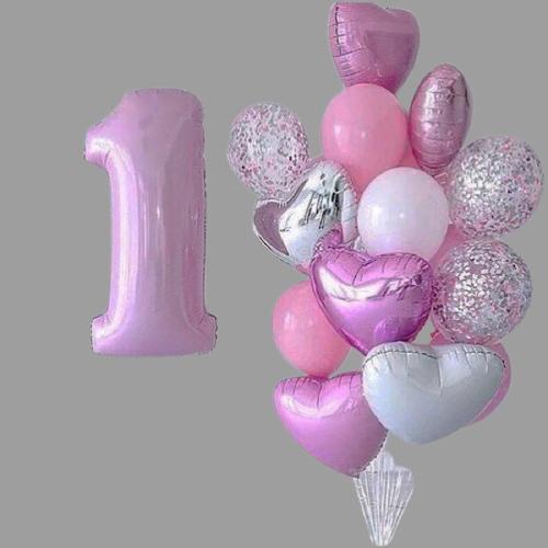 Фонтан из шаров на годик девочки