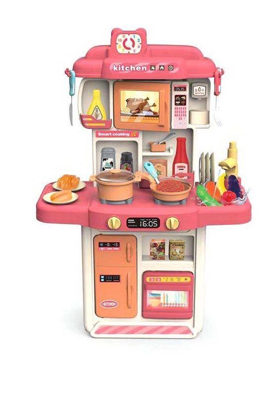 383-060A Детская кухня с холодильником, микроволновкой и посудомойкой. Настоящие вода и пар.