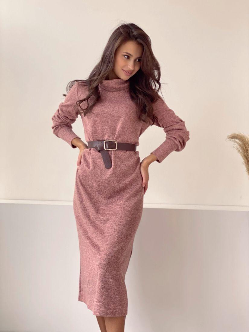 3475 Платье трикотажное с объёмными рукавами пудровое