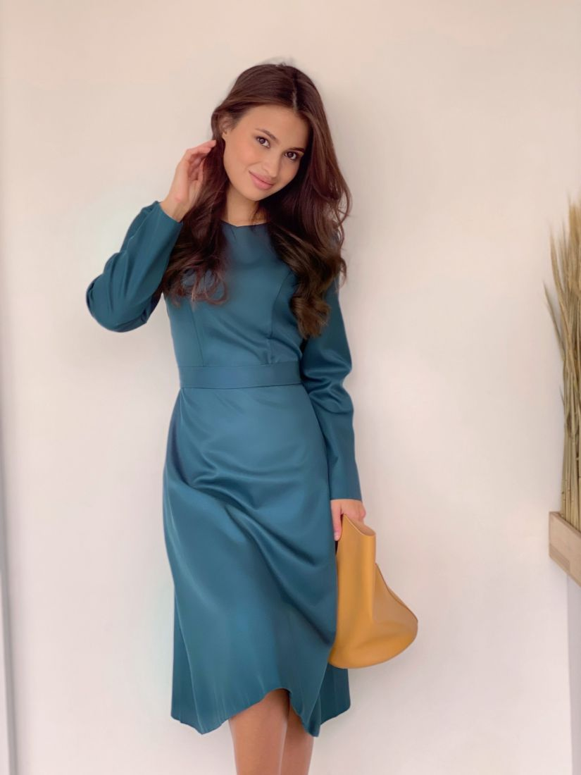 3467 Платье с рельефами в цвете морской волны