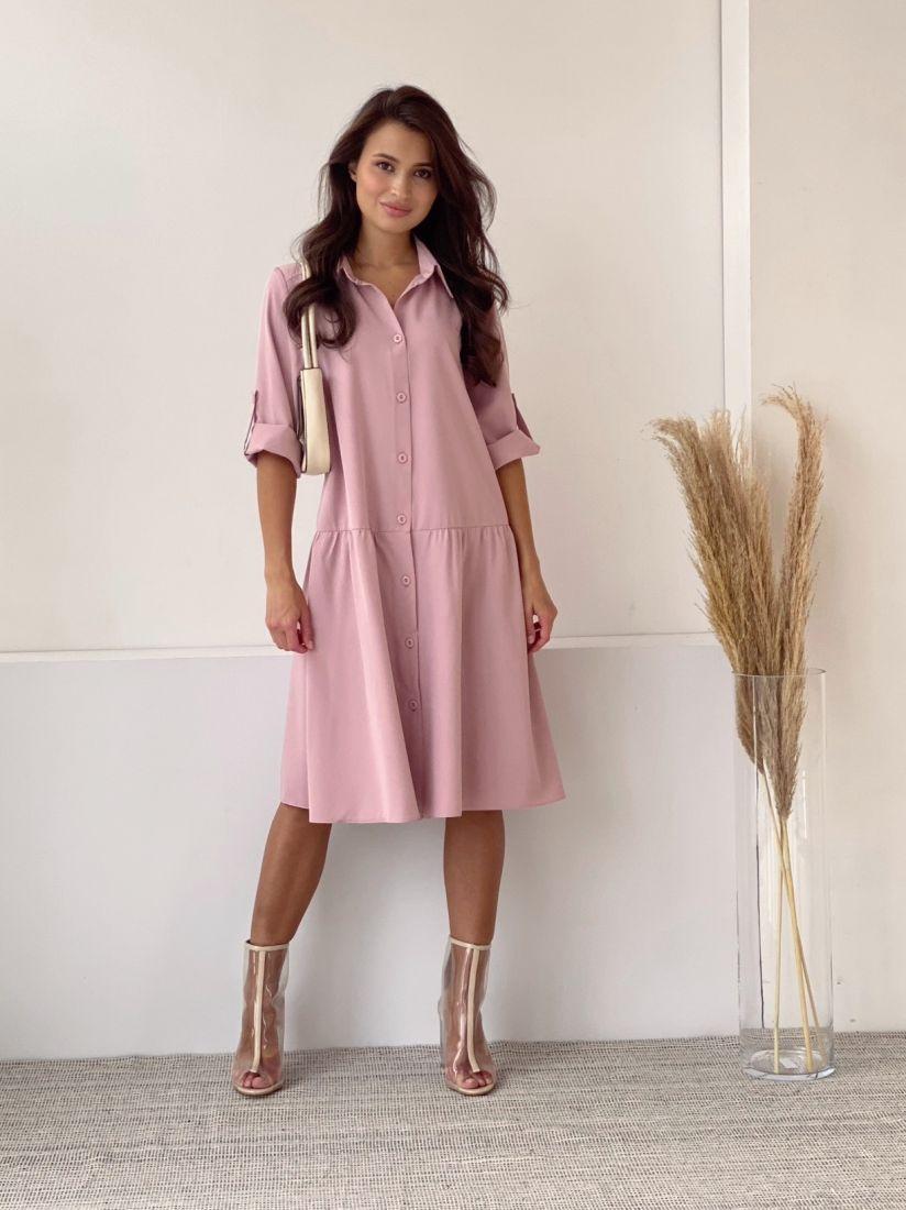 3834 Платье-рубашка с воланом в цвете пудра