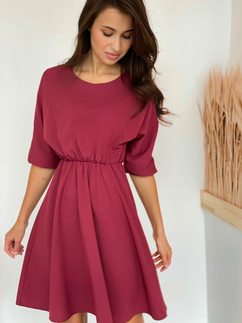 4435 Платье с акцентом на талии бордовое