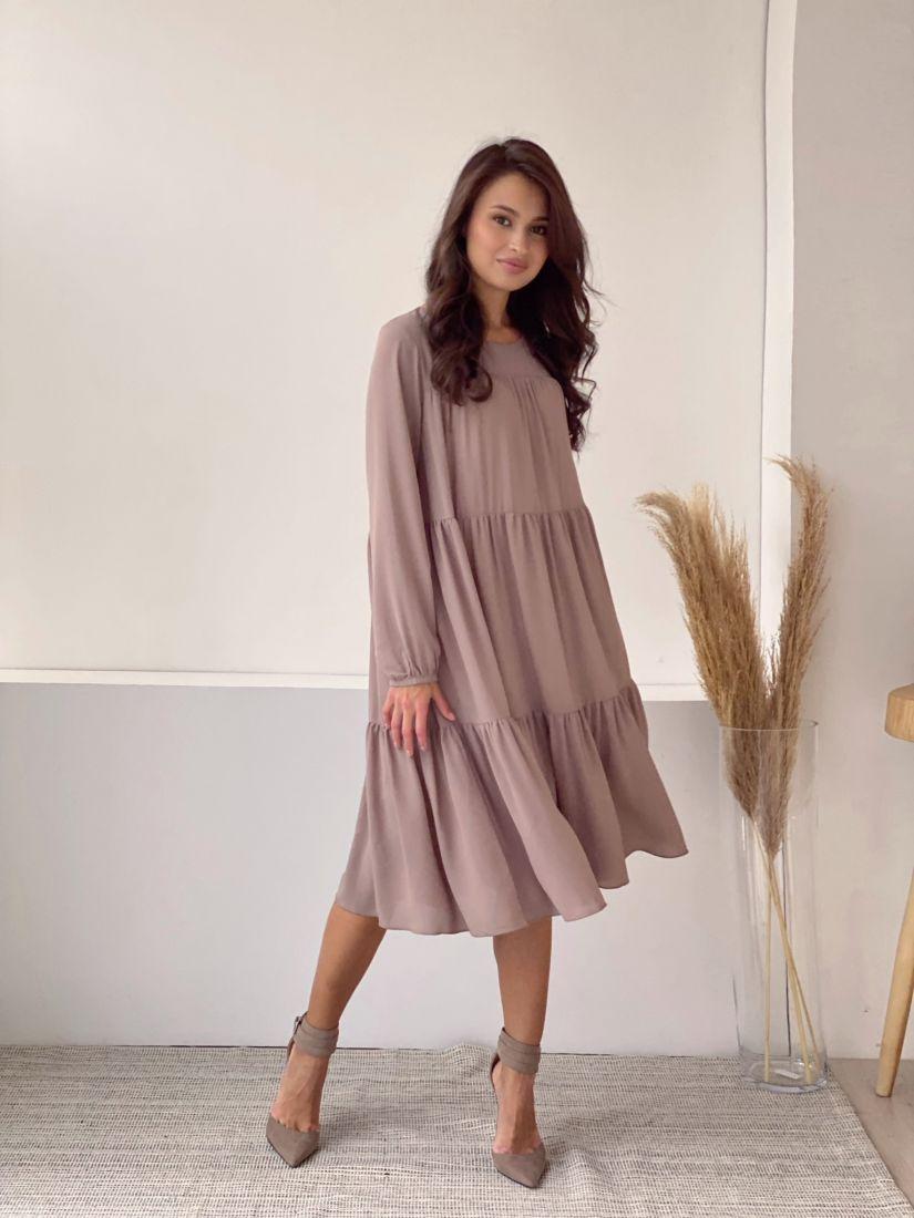 3451 Платье из микрошифона на подкладе многоярусное бежевое