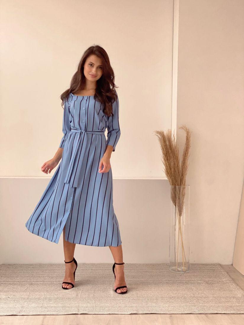 2901 Платье на пуговичках серо-голубое в полоску