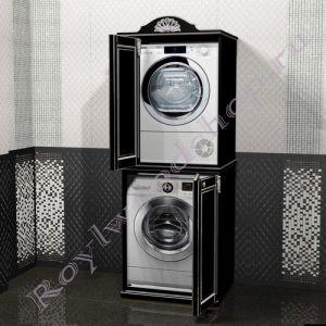 """Шкаф для стиральной и сушильной машин """"Руссильон PROVENCE-Дупль-V  черный с серебром"""""""