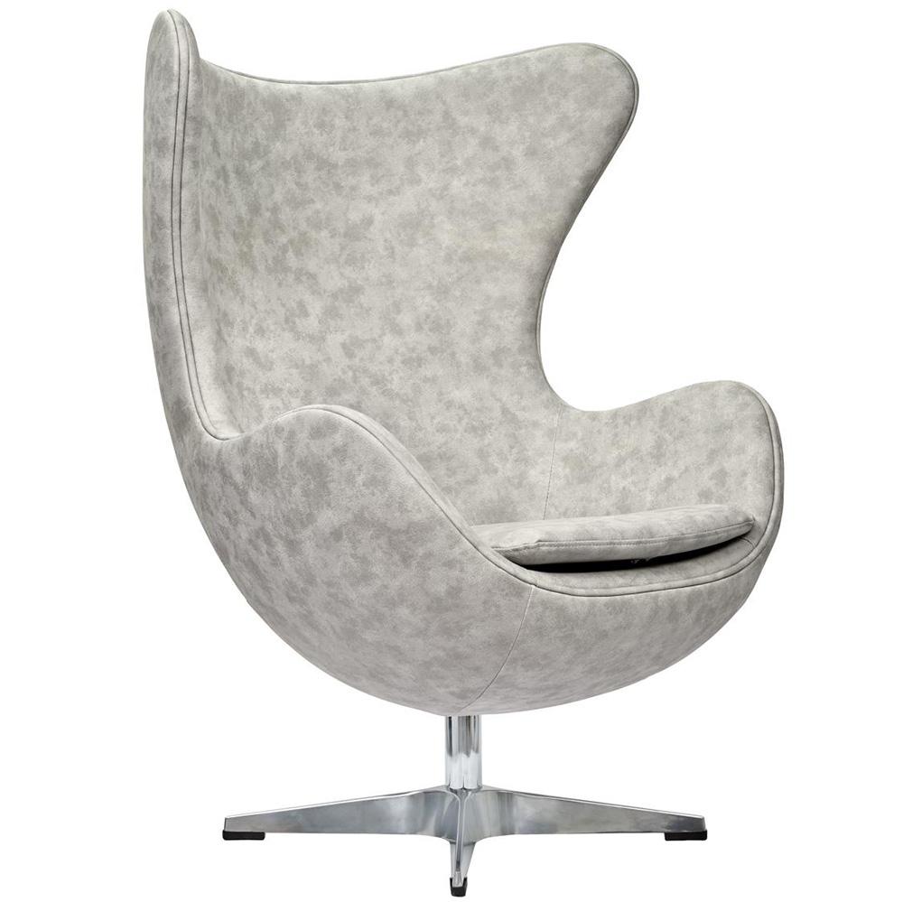 Кресло EGG CHAIR светло-серый матовый с эффектом  состаренная кожа