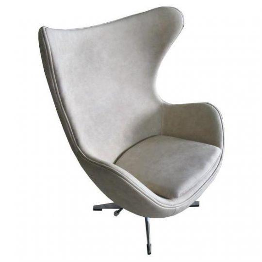 Кресло EGG CHAIR бежевый матовый с эффектом  состаренная кожа