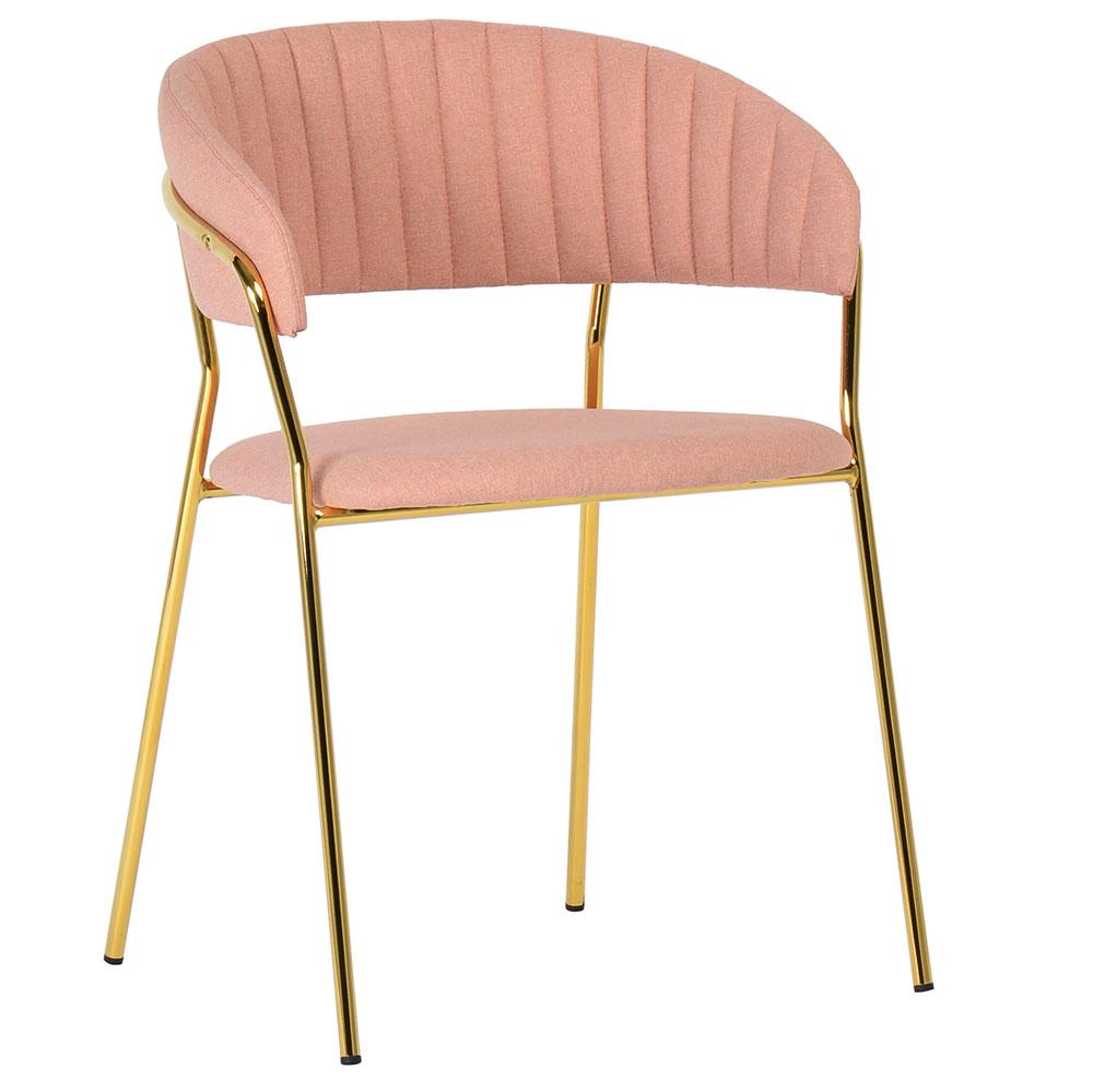 Стул Turin светло-розовая рогожка с золотыми  ножками