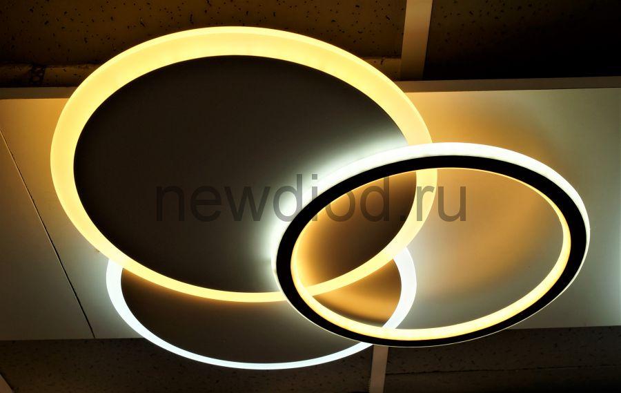 Управляемый светодиодный светильник GEOMETRIA 9254-5 90Вт-23м² 500мм 6/3/4000K пульт Oreol