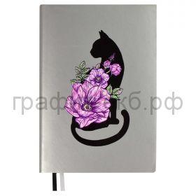 Ежедневник А5 недат.Феникс+ СОФТ-ТАЧ Кошка черная серебряный 160л. 52891