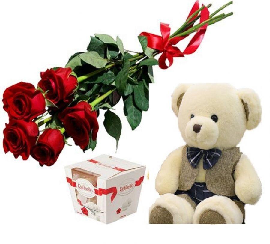 Подарочный набор 5 роз, конфеты и мишка
