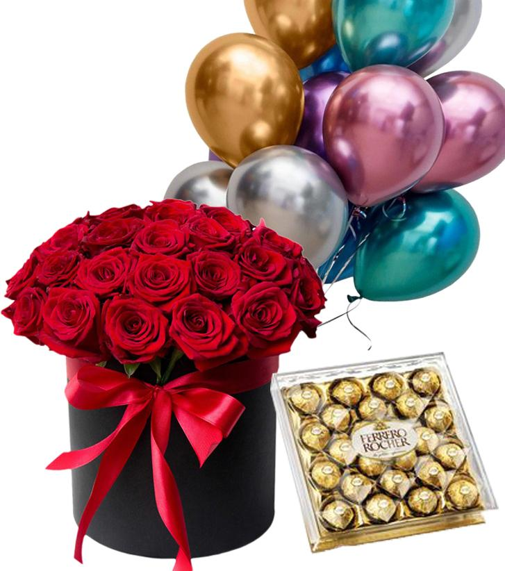 Подарочный набор 25 роз и шары, конфеты