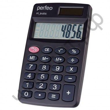 Кальк.PERFEO PF_B4856, карманный, 8-разр., черный