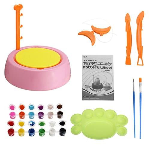 Детский гончарный круг Pottery Wheel, цвет - розовый.