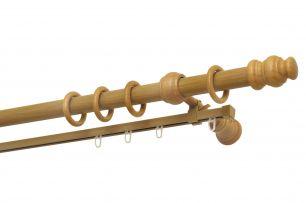 Карниз Уют 25.D20 деревянный, двухрядный, Светлый Дуб