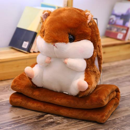 Подушка-игрушка с пледом Хомяк 3 в 1, цвет – коричневый.