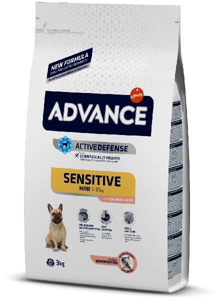 Сухой корм для собак Advance Mini Sensitive мелких пород при чувствительном пищеварении лосось с рисом 3 кг