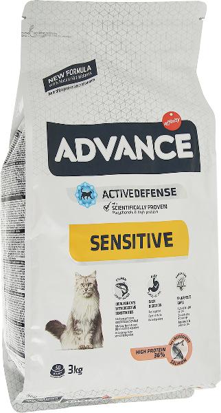 Сухой корм для кошек Advance Sensitive при чувствительном пищеварении с лососем и рисом 3 кг