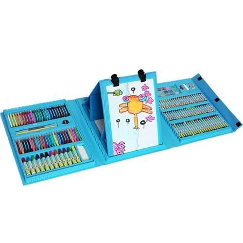 Набор для рисования со складным мольбертом в чемоданчике, 208 предметов, цвет - голубой.