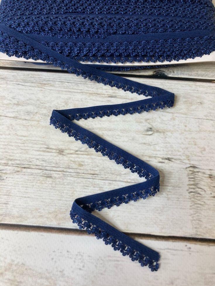ажурная резинка 12мм т.синяя